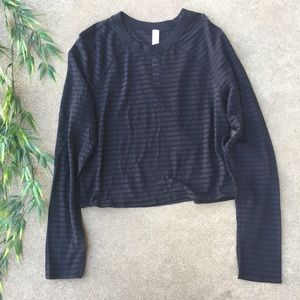 Lululemon Uncovered Striped Crop Long Sleeve Top